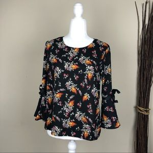 LILY WHITE | Floral Print Blouse Bell Sleeve Chic